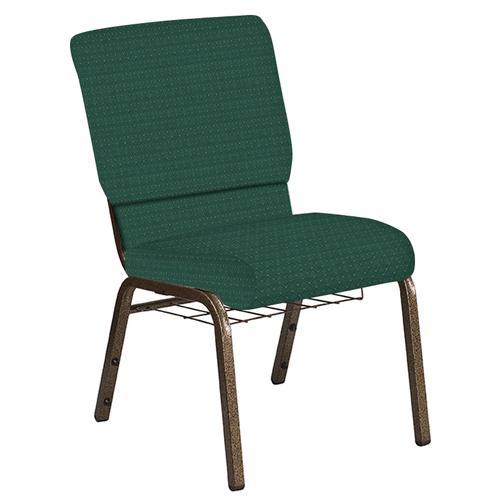 Flash Furniture - 18.5''W Church Chair in Jewel Emerald Fabric with Book Rack - Gold Vein Frame