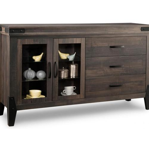 - Chattanooga Sideboard w/2 Glass Doors on Left & 3/Dwrs on Right & 2/Glass Adjust.