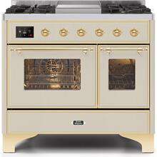 Majestic II 40 Inch Dual Fuel Liquid Propane Freestanding Range in Antique White with Brass Trim