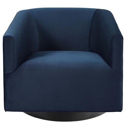Modway - Twist Swivel Chair Performance Velvet Set of 2 in Midnight Blue