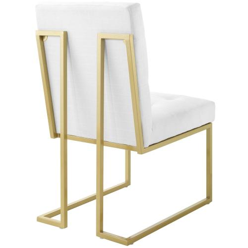 Privy Gold Stainless Steel Upholstered Fabric Dining Accent Chair in Gold White