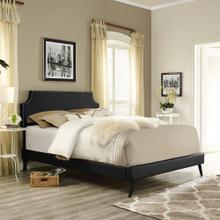 Corene Full Vinyl Platform Bed with Round Splayed Legs in Black