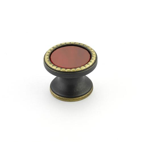"Kingsway, Knob, Round, 1-1/4"" dia, Ancient Bronze, Scarlet Glass"