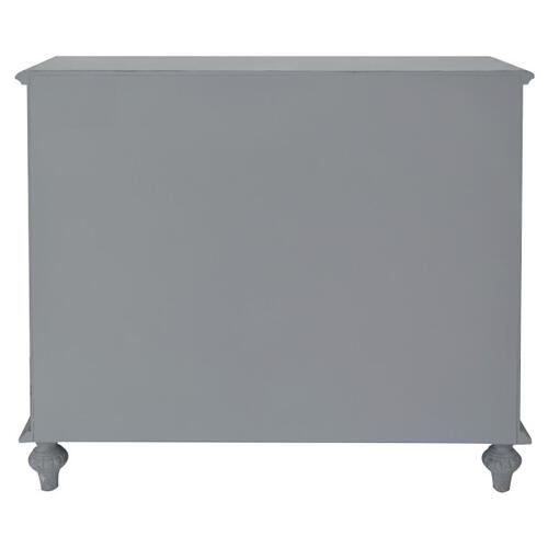 Gray Distressed Carved Door Chest