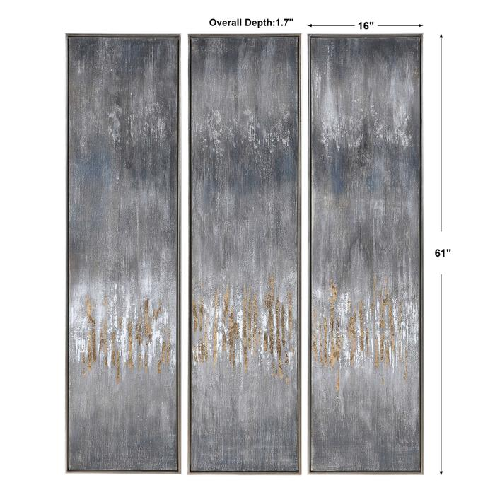 Uttermost - Gray Showers Hand Painted Canvases, S/3