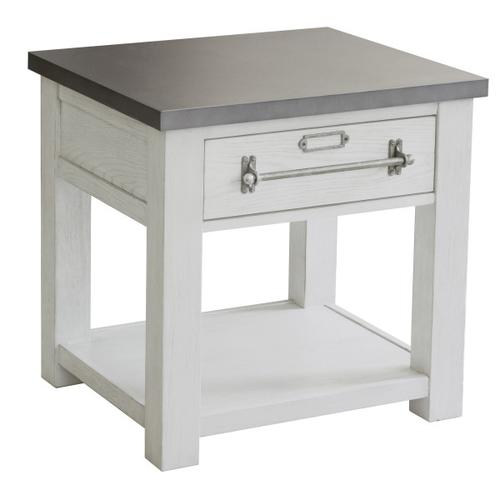 Metal Top White Side Table