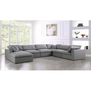"Meridian Furniture - Serene Linen Deluxe Cloud Modular Down Filled Overstuffed Reversible Sectional - 158"" W x 120"" D x 32"" H"