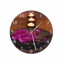 Orchids and Candles Round Square Acrylic Wall Clock