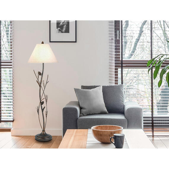 Cal Lighting & Accessories - 150W 3Way Pine Twig Iron Fl Lp