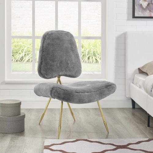 Ponder Upholstered Sheepskin Fur Lounge Chair in Gray