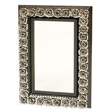 Rectangular Tin Mirror w/Roses