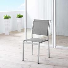 Shore Outdoor Patio Aluminum Side Chair in Silver Gray