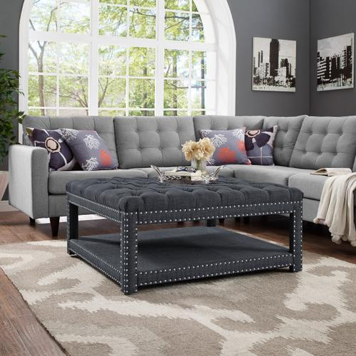 Charcoal Button Tufted Cocktail Ottoman