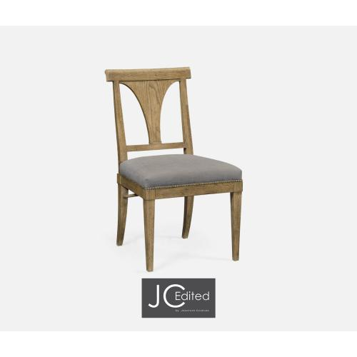 Cut-Out English Brown Oak Dining Side Chair, Upholstered in COM