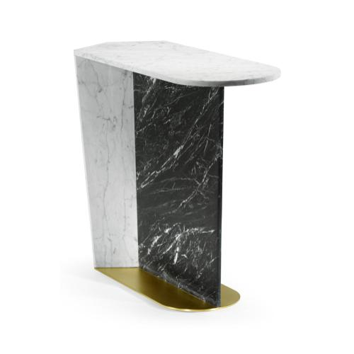 Fusion White & Black Marble End Table