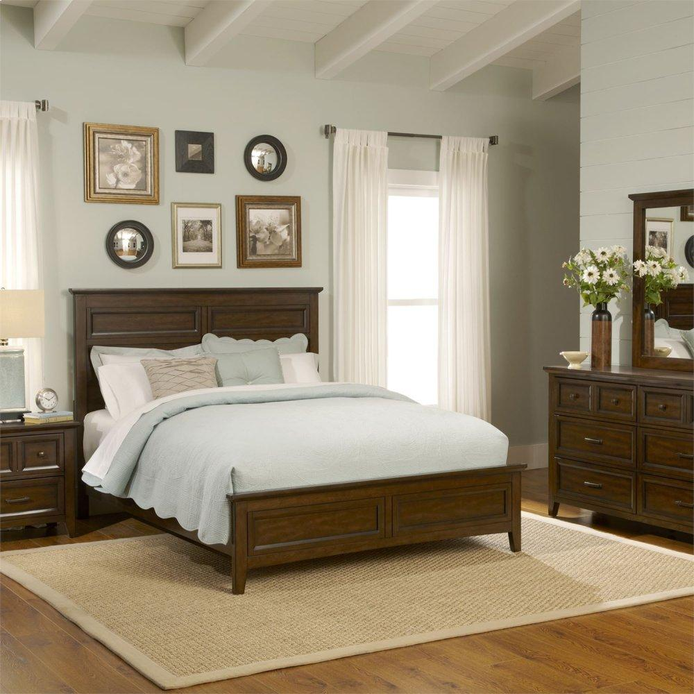 King Panel Bed, Dresser & Mirror, Chest, Night Stand