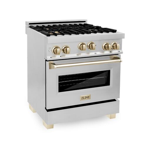 """Zline Kitchen and Bath - ZLINE Autograph Edition 30"""" 4.0 cu. ft. Range with Gas Stove and Gas Oven in Stainless Steel with Accents (RGZ-30) [Color: Champagne Bronze]"""
