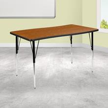 "28""W x 47.5""L Rectangular Wave Collaborative Oak Thermal Laminate Activity Table - Standard Height Adjustable Legs"