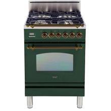 Nostalgie 24 Inch Gas Natural Gas Freestanding Range in Emerald Green with Bronze Trim
