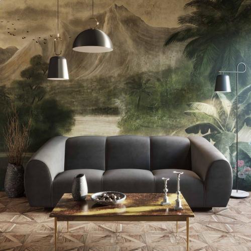 Emmet Grey Velvet Sofa
