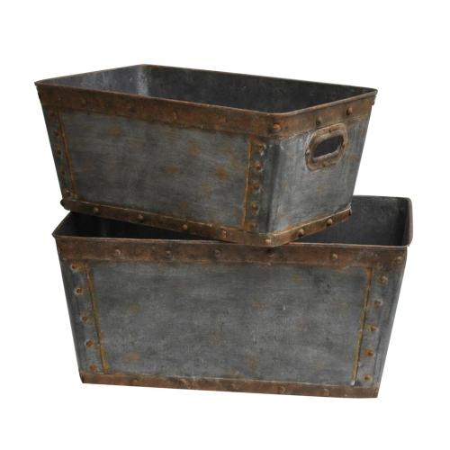 """Crestview Collections - Galvanized Metal Tubs., S: 20""""H L: 22""""H"""