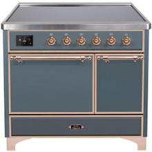 Majestic II 40 Inch Electric Freestanding Range in Blue Grey with Copper Trim