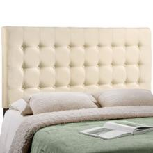 Tinble Queen Upholstered Fabric Headboard in Ivory