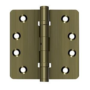 "4"" x 4"" x 1/4"" Radius Hinges, Ball Bearings, NRP, Solid Brass - Antique Brass"
