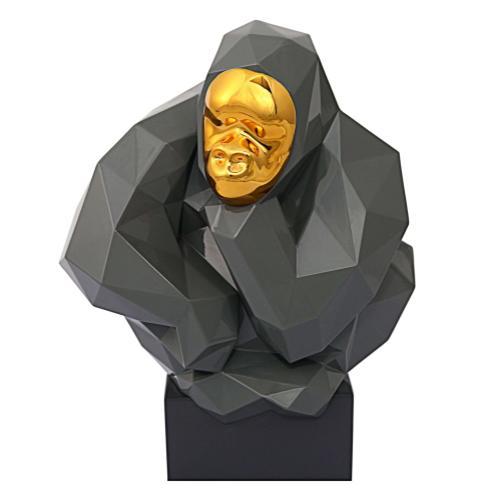Tov Furniture - Pondering Ape Sculpture - Grey and Gold