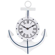 Blue & White Enamel Anchor Wall Clock