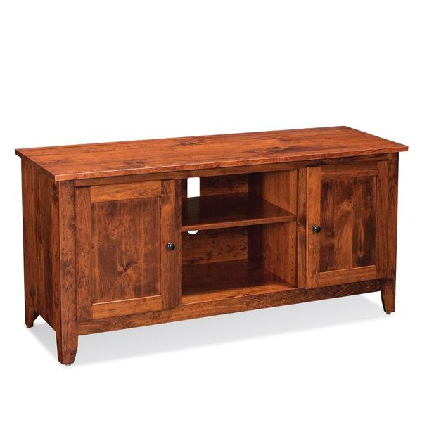 See Details - Shenandoah TV Console with Wood Doors and Open Center - QuickShip