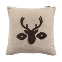 See Details - Aztec Deer Bust Embroidered Burlap Throw Pillow, 18x18
