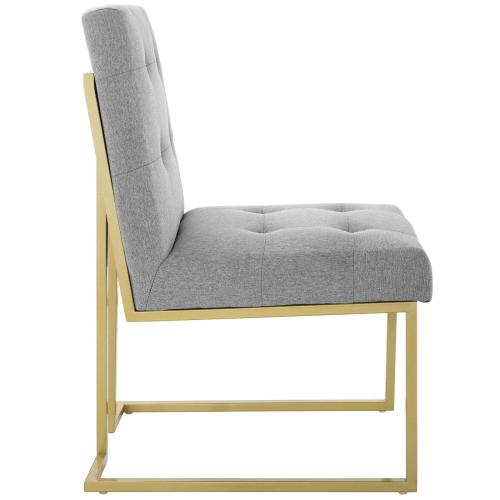 Privy Gold Stainless Steel Upholstered Fabric Dining Accent Chair in Gold Light Gray