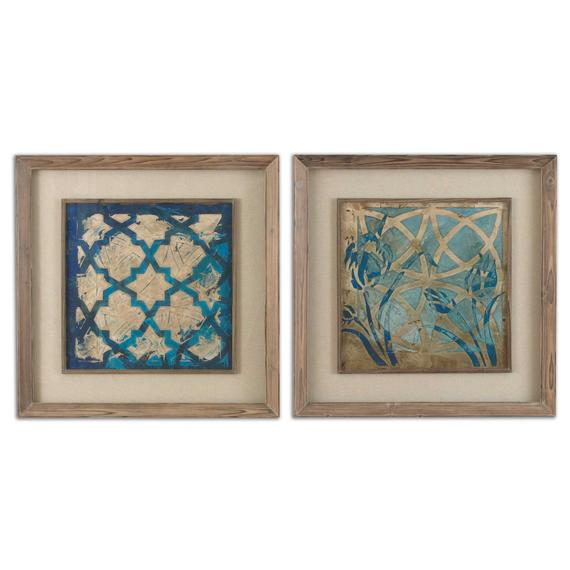 Stained Glass Indigo Framed Prints, S/2
