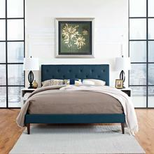 View Product - Tarah King Fabric Platform Bed with Squared Tapered Legs in Azure