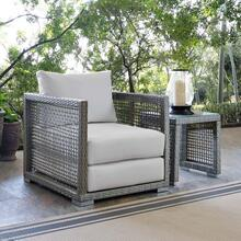 Aura Rattan Outdoor Patio Armchair in Gray White