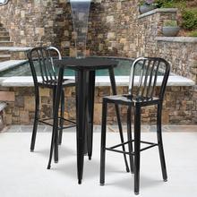 "See Details - Commercial Grade 24"" Round Black Metal Indoor-Outdoor Bar Table Set with 2 Vertical Slat Back Stools"