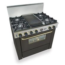 "36"" Dual Fuel, Convect, Self-Clean, Open Burners, Black with Brass"