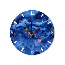 Blue Gold Abstract Clouds Round Square Acrylic Wall Clock