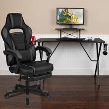 Black Gaming Desk with Cup Holder\/Headphone Hook\/Monitor Stand & Black Reclining Back\/Arms Gaming Chair with Footrest