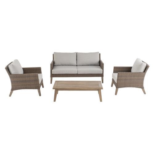 Bethany Eucalyptus FSC KD Deep Seating Love Seat w/ Sunbrella cushion