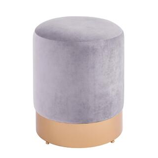 Coco Velvet Fabric Round Ottoman, Serene Gray/Gold