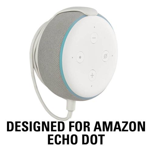 White Amazon Echo Dot (3rd Gen) Wall Mount