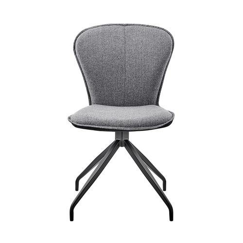 Armen Living - Petrie Dining Room Accent Chair in Grey Fabric and Black Finish - Set of 2