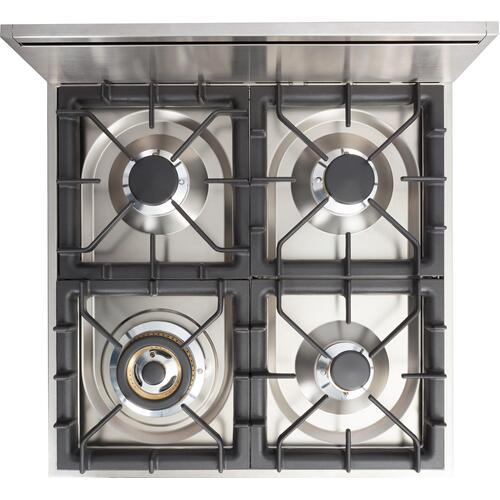 """Ilve - 24"""" Professional Plus Series Freestanding Single Oven Gas Range with 4 Sealed Burners in Glossy Black"""
