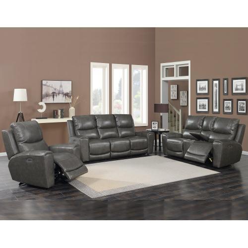 Laurel Grey 3-Piece Dual-Power Leather Motion Set(Sofa, Loveseat & Chair)