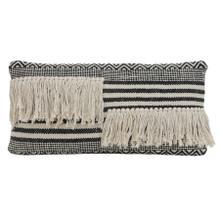 6816612 - Pillow 60x30 cm YANKOY black-white stripes print+fringes