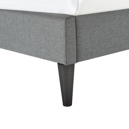 Accentrics Home - Vertically Channeled Queen Upholstered Platform Bed in Gray