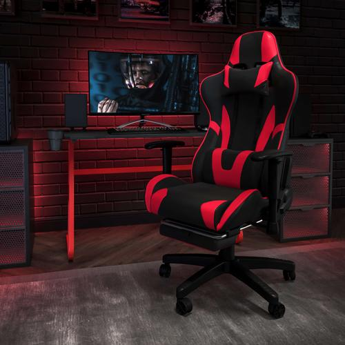Gallery - Red Gaming Desk and Red\/Black Footrest Reclining Gaming Chair Set with Cup Holder and Headphone Hook