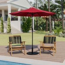 """See Details - Red 9 FT Round Umbrella with 1.5"""" Diameter Aluminum Pole with Crank and Tilt Function"""